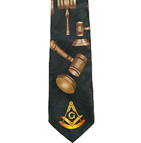 Gavels Past Master Tie for Free Mason Suit Black Polyester long tie with Gavels