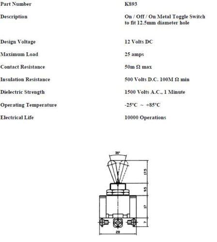 5x ON//OFF//ON TOGGLE SWITCH FLIP FLICK DASH HD 12V 25A ROBINSON K893