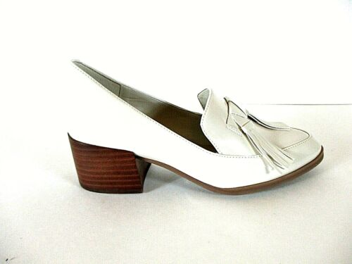 Marc Fisher White Patent Leather Tassels Loafers H