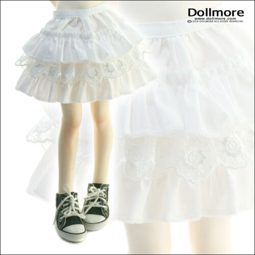 "CanCan lacy skirt Dollmore 17/"" 1//4BJD doll clothes  MSD SIZE Solid White"