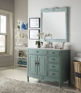 38 Benton Collection Distressed Vintage Blue Daleville Bathroom Vanity Hf837y Ebay