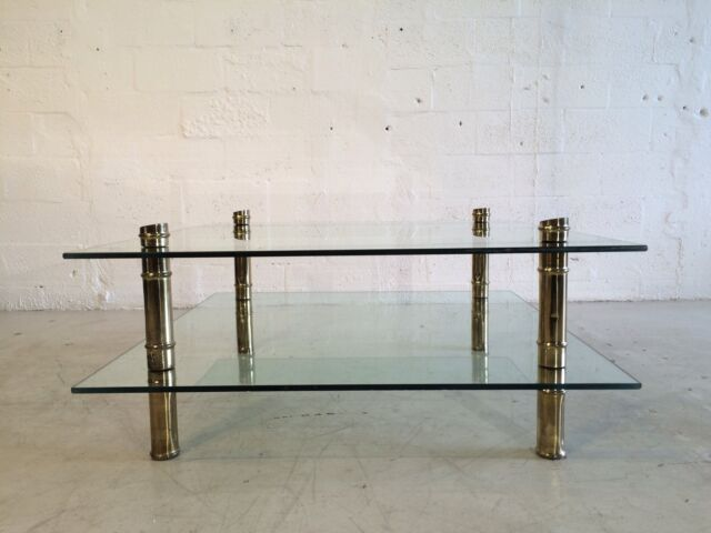 Two Tier Faux Bamboo Brass And Glass Coffee Table Mastercraft Brueton Pace