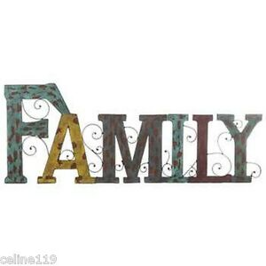 Image Is Loading Rustic Family Letters Metal Wall Art Country Farmhouse