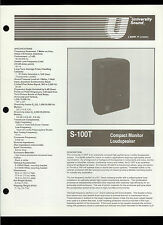 Rare Original Factory University Sound Altec S 100T Speaker Dealer Brochure