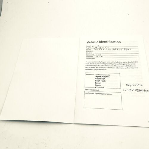 Used Genuine TOYOTA Service Book Record See Pics for detail Blank 2012-17
