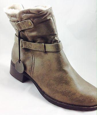 Plus Size Womens EVANS Grey Faux Fur Collar Ankle Boots Size UK 10EEE PLUS SIZE
