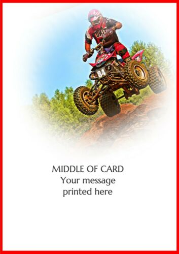 PERSONALISED QUAD BIKE SPORT OFF ROAD BIRTHDAY FATHERS DAY etc CARD Illus inside