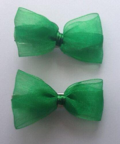 Green Gingham School Ribbon Hair Streamer Scrunchie Bobble//Band Clip Slide Bow