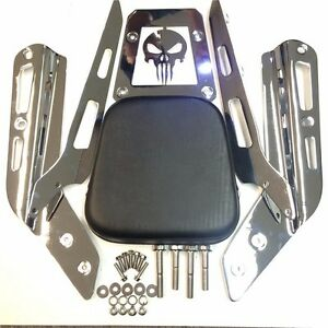 Chrome-Skull-Backrest-Sissy-Bar-w-Leather-Pad-For-ALL-YEAR-Honda-VTX-1300C-1800C