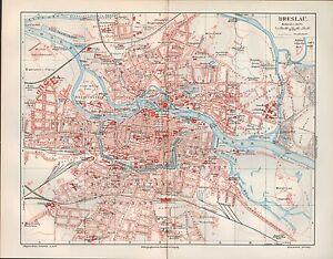 Stadtplan-City-Map-1905-BRESLAU-Wroc-aw-Fluss-Oder-Polen-Schlesien