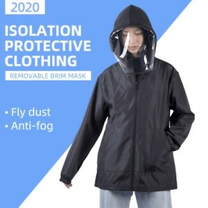 Washable Protective Suit Isolation Clothing Jacket Hat With Cover Waterproof
