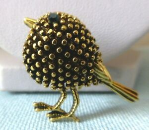 Robin-bird-brooch-Vintage-style-gold-plate-green-dainty-diamante-pin-in-gift-box
