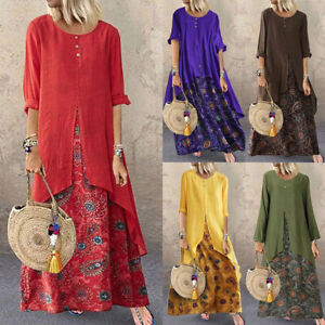 Women-Long-Maxi-Dress-Floral-Print-Split-Hem-Long-Sleeve-Shirt-Dress-Plus-S-5XL