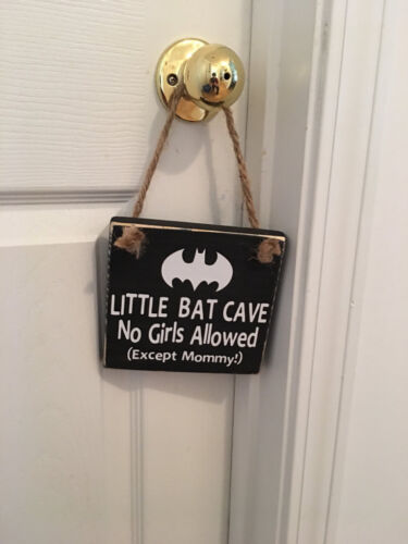 Little Bat Cave Wooden Nursery Boy's Room Door Sign