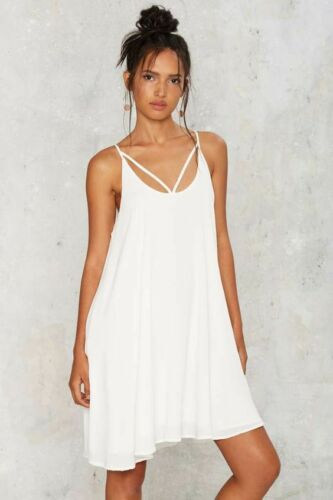 Nasty gal A.Peach Strappy Days Mini Dress in White Size M $48 NG21