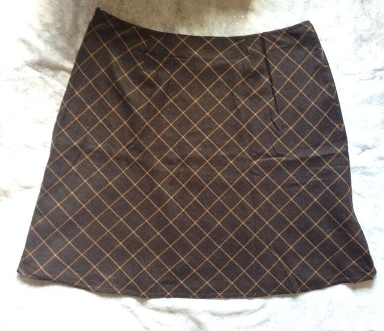 LANDS' END Skirt Size  26 W NEW Flare Windowpane FREE SHIPPING Юбка