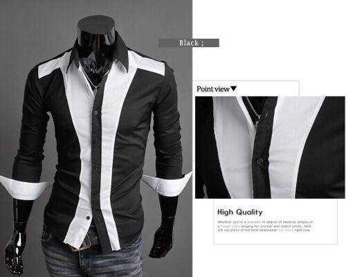 Popular Men/'s Casual Black /& White Stitching Slim Long Sleeve Dress Shirts