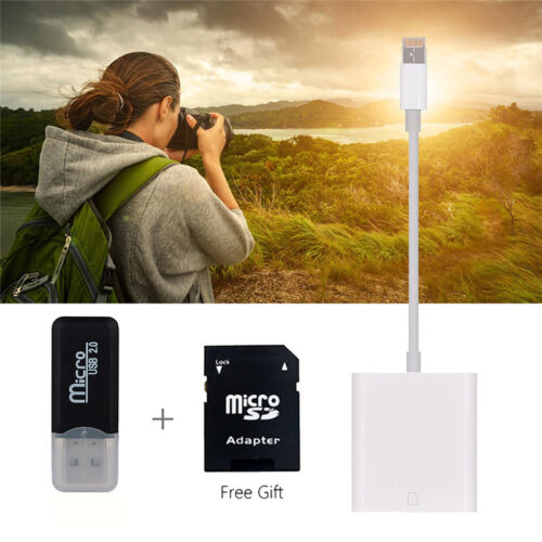 For iPhone X//8//7//6Plus//iPad IOS light-ning To SD Card Camera Reader Adapter 2Set