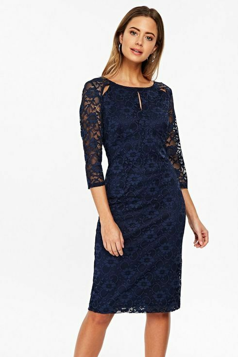 Wallis Petite Navy Lace Keyhole Shift Dress Size 12 Bnwt