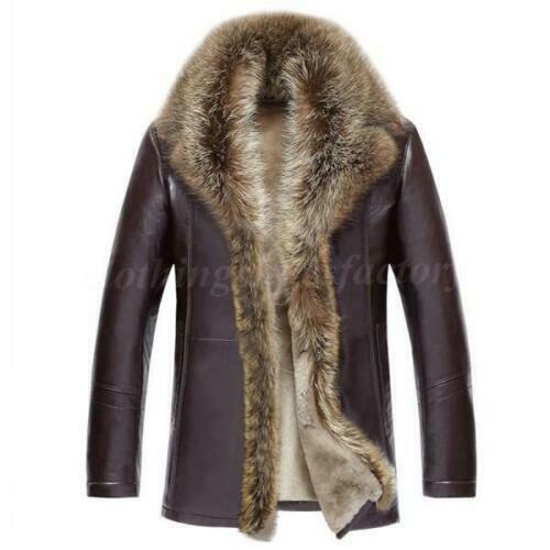 Homme Fourrure véritable col en cuir véritable Veste Polaire Manteau Trench Outwear rembourré ne