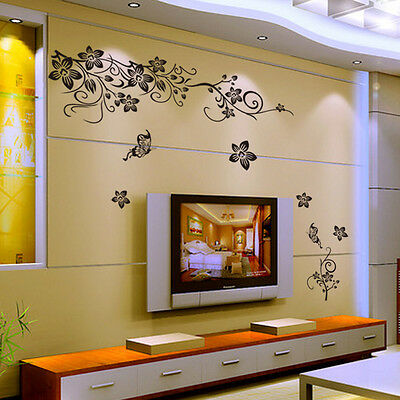Home Removable Floral Vines Butterfly Wall Sticker House Room Decal New