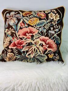 Wool-Needlepoint-Flowers-Spring-Floral-Pillow-Velvet-Back-Iris-Hibiscus-Begonia