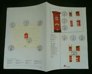 SJ-Portugal-Postbox-1993-Mailbox-Pillar-Postal-stamp-ms-on-info-sheet