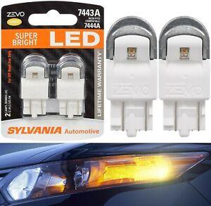 Sylvania ZEVO LED Light 7444NA Amber Orange Two Bulbs Front Turn Signal Lamp Fit