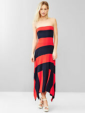 NEW GAP RED & NAVY STRIPED 4 IN 1 TRAPEZE MAXI DRESS SZ L LARGE