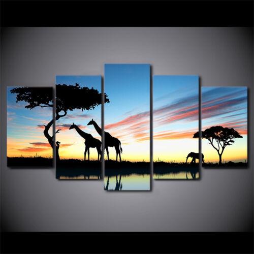 African Safari Animals Silhouette Sunset Poster 5 Panel Canvas Print Wall Art