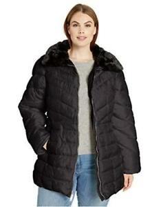 Big-Chill-Women-039-s-Plus-Size-Puffer-Coat-with-Detachable-Faux-Black-Size-1-0-me