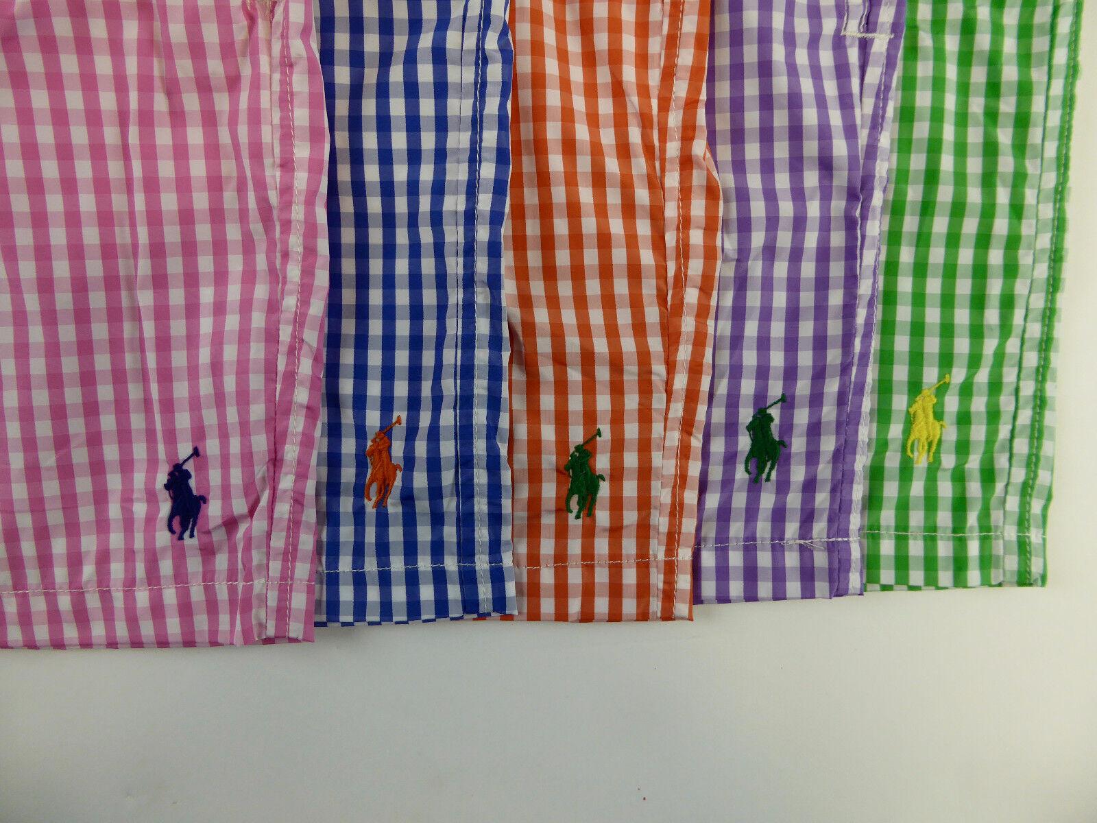 Polo Ralph Lauren Gingham Plaid Traveler Swim Wear Trunks Shorts -79 Pony NWT