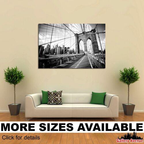 Wall Art Canvas Picture Print Brooklyn Bridge Black and White 3.2