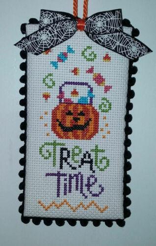 """Finished Cross Stitch /"""" Treat Time/"""" Halloween"""