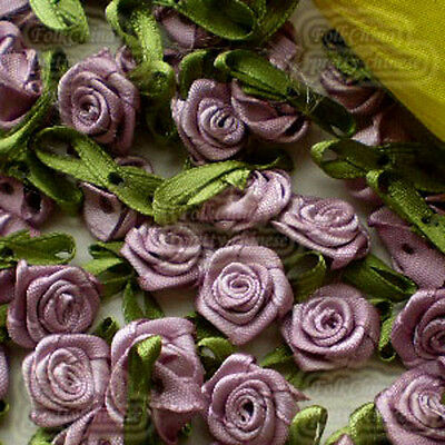 Plum Satin Ribbon Roses Leaf 15mm Appliques Scrapbooking Sewing Craft JMSRL