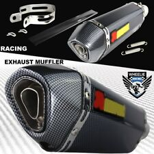 "1-1/4"" Rolled Carbon Look Tip Motorcycle 1.5""-2"" Performance Exhaust Muffler Kit"
