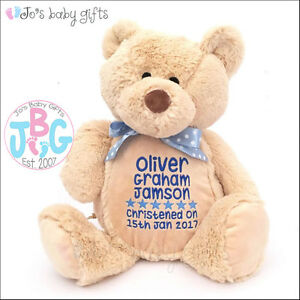 faefbf1dbd0 Image is loading Personalised-Baby-Teddy-Bear-Gift -Embroidered-Keepsake-Christening-