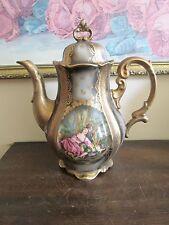 Stunning Vintage Hertel Jacob Bavaria Germany Large Tea Pot Heavy Gold Scene