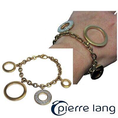 Modesto Pierre Lang Bracelet De Couleur Or Breloques Gros Cercle Zirconium Blanc Bijou