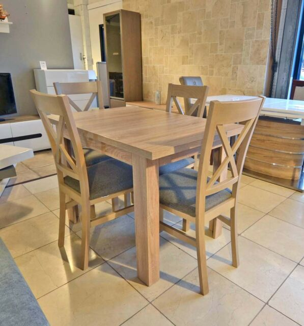 the latest 32ee3 1e28b SET of extending dining table and 4 solid wood chairs SMALL & STRONG Kam03