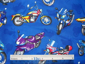 Speedy-Hot-Chopper-Motorcycles-cotton-quilting-fabric-Choose-colour-amp-size