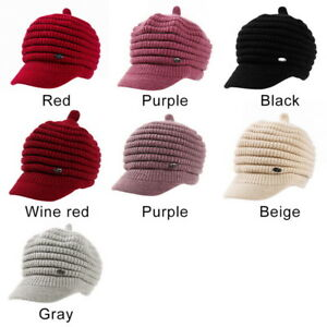 2ab16718 Image is loading Ladies-Women-Beret-Winter-Warm-Baggy-Beanie-Knitted-