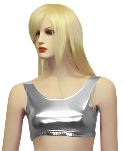 New Ladies Women Shiny Metallic Dance Crop Top Vest Top 5 Colours