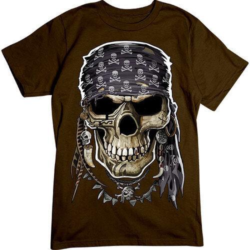 Cool Pirate Skull T-SHIRT Jolly Roger Bandana Chocolate TEE
