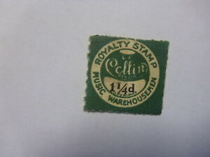 OLD-SMALL-MUSIC-LABEL-COPYRIGHT-ROYALTY-STAMP-COLLINS-1-1-4d-2