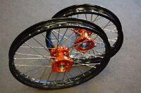 Ktm Sx 85 Black Rim Cnc Hub 19/16 Wheels Set Orange 2003-2015 V Rmt04