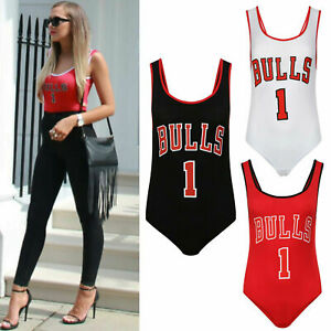 New Ladies Womens Celeb Bulls 1 Print Sleeveless Bodysuit Leotard Top Sizes 8-14
