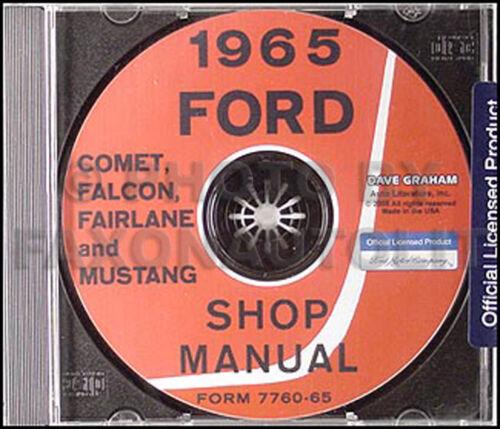 1965 Ford Repair Shop Manual CD Mustang Falcon Fairlane Ranchero Comet Cyclone