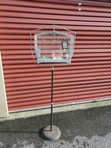 Vintage-Art-Deco-Hendryx-Metal-Bird-Cage-amp-Cast-Iron-Base-Stand-Swings-Extras