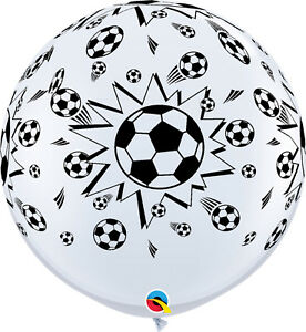 2-x-LARGE-SOCCER-BALL-BALLOONS-3ft-91cm-QUALATEX-BALLOONS-TWO-BALLOONS